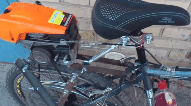 Как на велосипед поставить двигатель от бензопилы